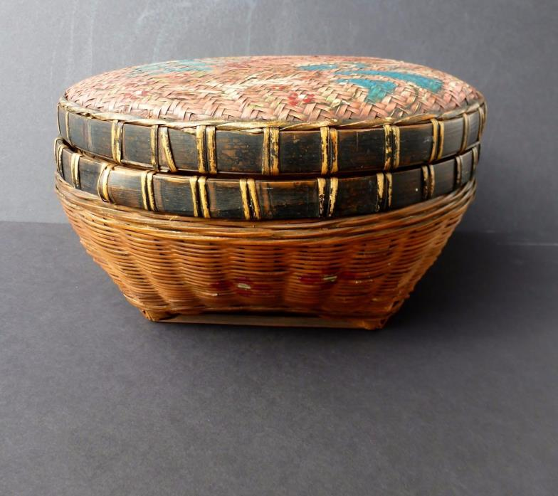 Antique Asian Wedding Sewing LIDDED WOVEN BASKET Hand Painted Landscape