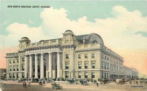 C-1910 Railroad North West Depot Chicago Illinois postcard 1344