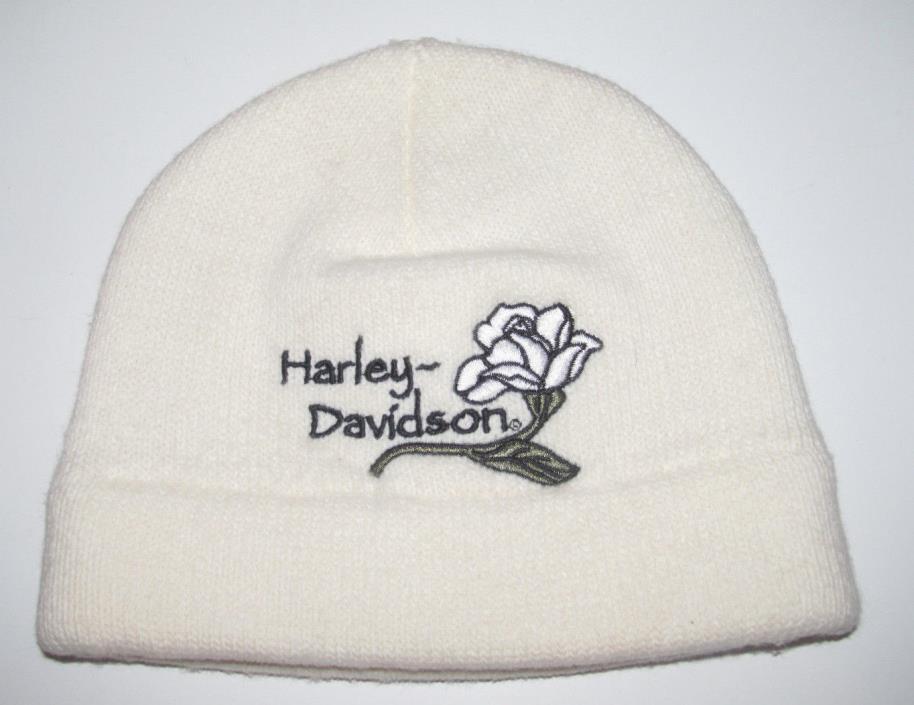 Genuine Harley Davidson White Rose Flower Beanie Winter Snow Hat