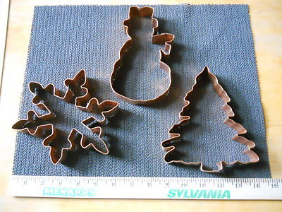 Lot of 3 - Williams Sonoma Copper Cookie Cutters Snowflake Snowman Tree