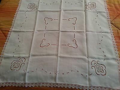 White powder blue Point de Venise linen tablecloth 34