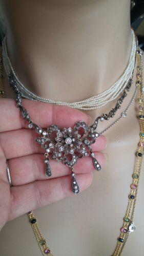 georgian Rose Cut Diamonds Gold/Silver Necklace