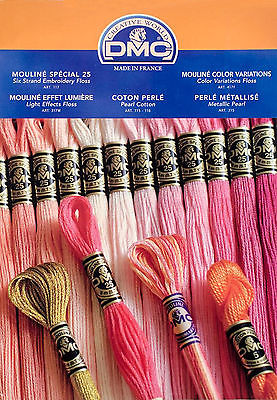 2017 DMC Color Card ~  Embroidery Floss, Pearl Made w/Real Thread Samples #W100A