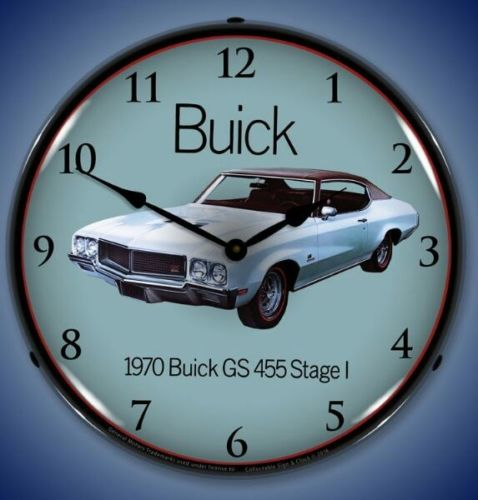 New 1970 LIGHT UP Buick GS  455 Stage 1 car advertising clock Free Fast Ship