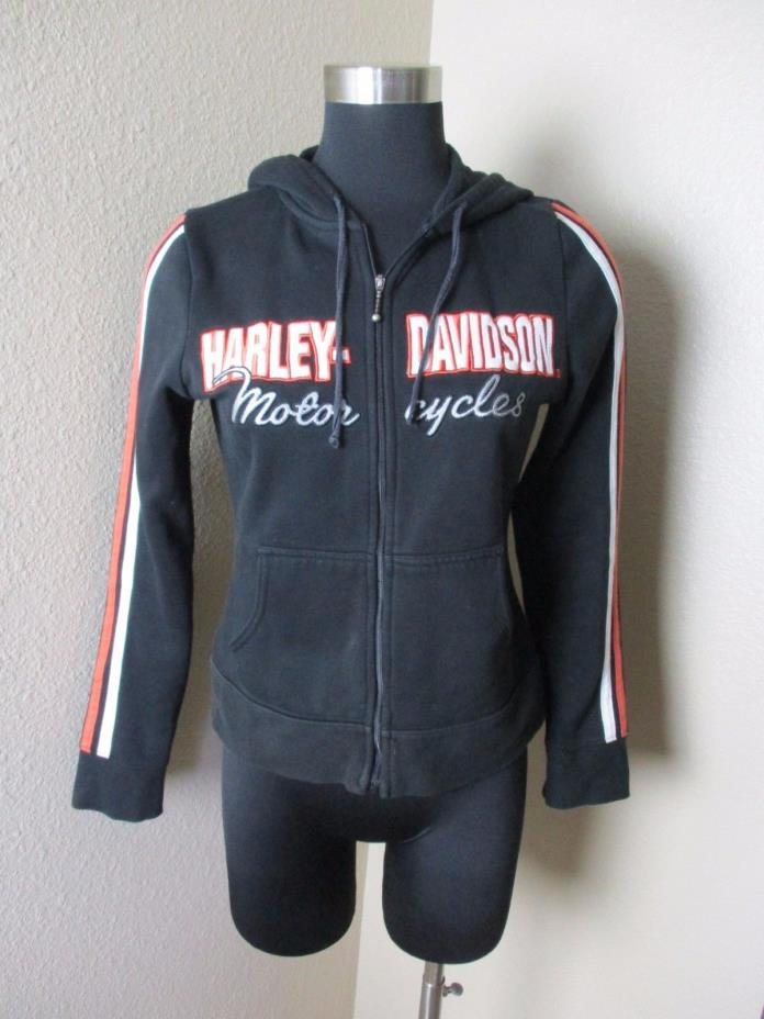 WOMEN'S HARLEY DAVIDSON LONG SLEEVE ZIP FRONT HOODIE BLACK SIZE SMALL