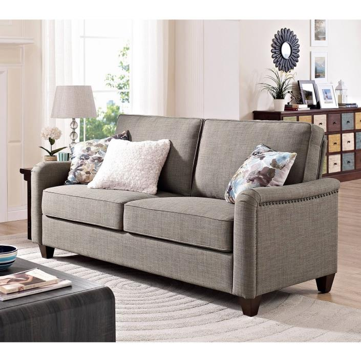 Sofa Bed Couch Grey Upholstery Nailheads Comfort Loveseat Living Room Furniture