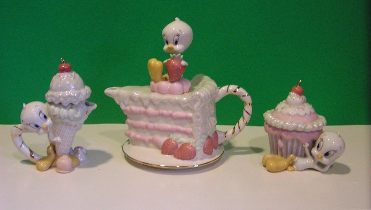LENOX TWEETY TEAPOT & CREAMER & SUGAR BOWL NEW in BOXES with COA's Looney Tunes
