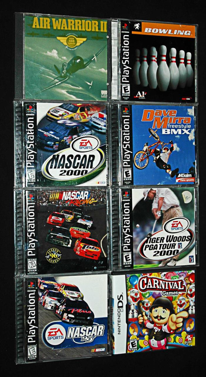 Vintage Assorted Eight (8) Video Game Lot : PlayStation Nintendo DS, NASCAR,