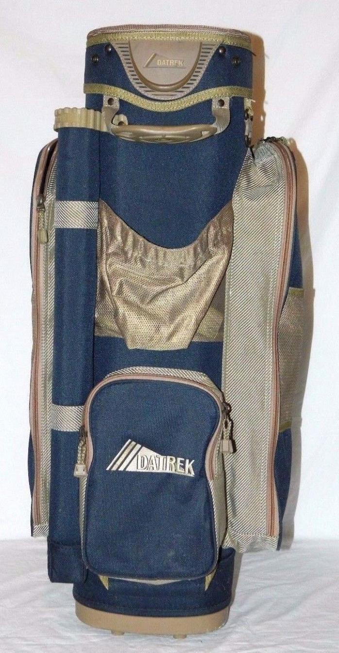 Datrek IDS 14 Way Cart Golf Bag With Putter Well Blue & Beige Includes Cover