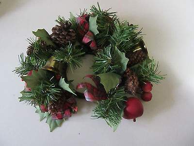 Christmas Plastic Candle Ring Wreath Fruit Holly Pine Cones Bells/Plaid Ribbon