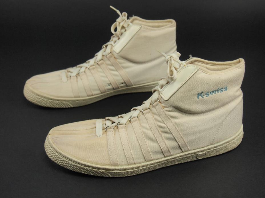 Rare 1980s K-SWISS Vintage California CA Mid-top Canvas Sneaker Shoe 11