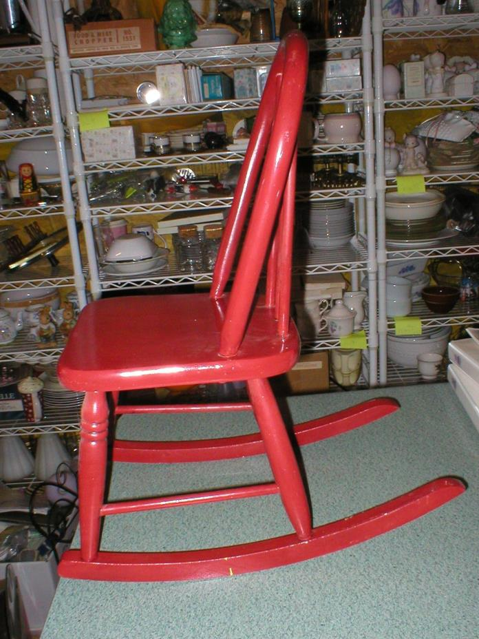 Vintage Painted Shiny Red Child's Rocking Chair 22