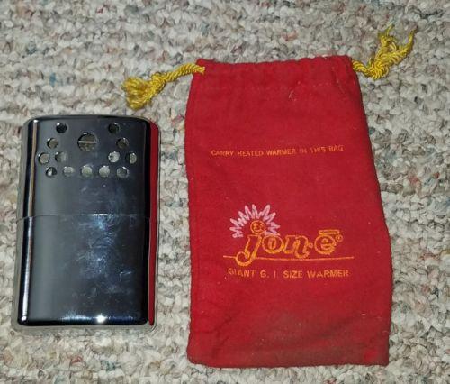 Vintage Jon-E Standard Size Chromed Hand Body Pocket Warmer Heater, Carrying Bag