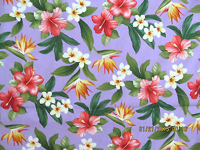 Hawaiian Quilting Fabric Lavender with Tropical FLorals NEW ARRIVAL