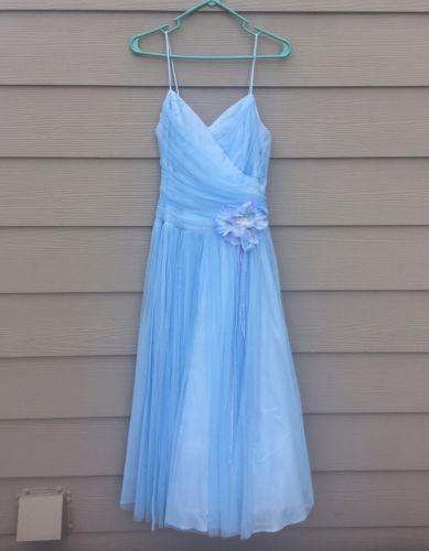 Light Blue Tea Length Prom Dress, Formal, Size 12