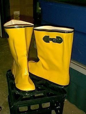 NEW YELLOW RUBBER OVER SHOE WORK BOOTS WADERS SIZE 17