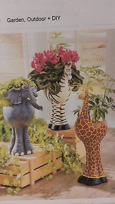 Safari Animal Planters Elephant Zebra Giraffe Yard Decor