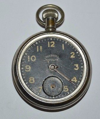 Vintage Black INGERSOLL Radiolite Brass Pocket Watch NEEDS REPAIR PARTS ONLY