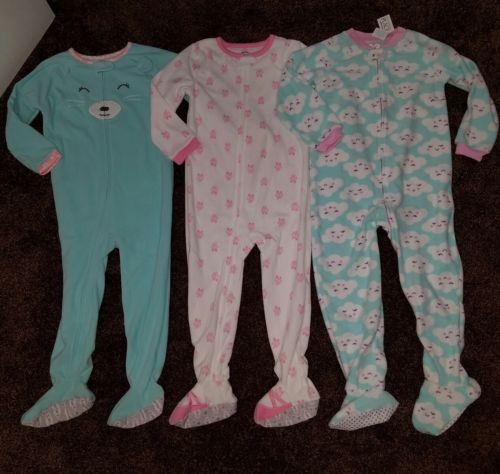 Footed Fleece Pajama Lot Size 5T Girls ballerina clouds bear