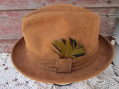 Vintage Stevens Fedora Hat Tan Suede Size 7