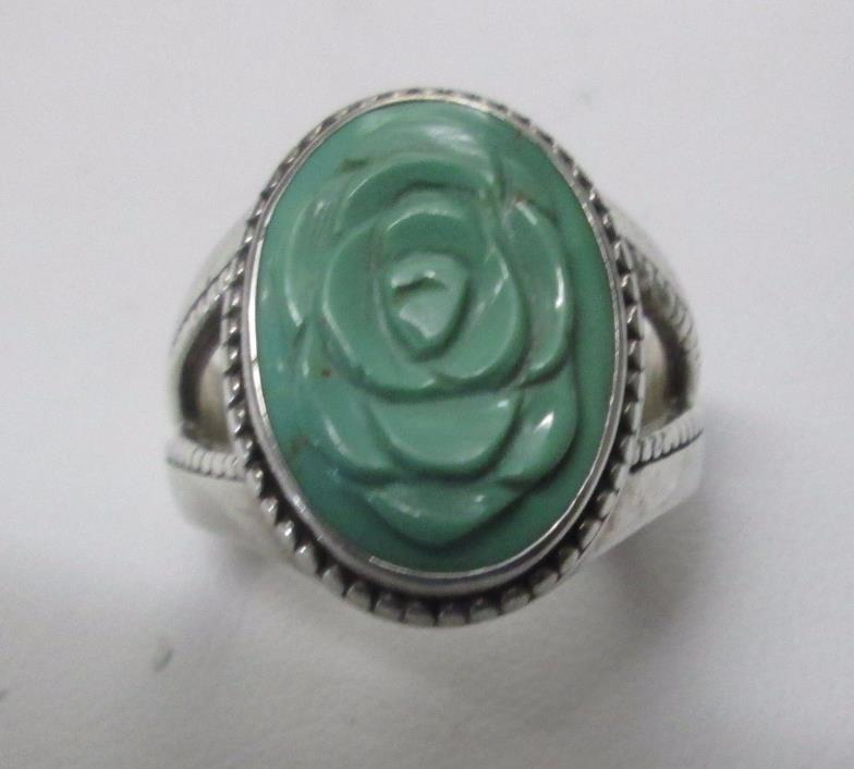 Carolyn Pollack Relios Sterling Silver Carved Green Turquoise Flower Ring Sz 9
