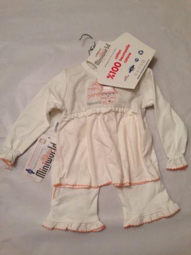 Miniworld Baby Girl Pajamas PJ Set Sleepwear 2 Pc Set 9 Months White Cotton NWT