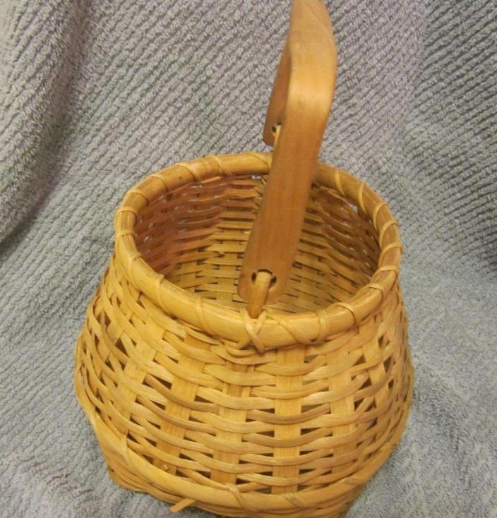 Banboo Wicker Basket With Wood Handle Bucket Storage