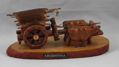 Covered Wagon Oxen Real Hide Figurine Kelly's Wood Carved From Argentina