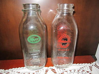 2 Milk Bottles South Mountain Creamery / Ronny Brook Farm Dairy