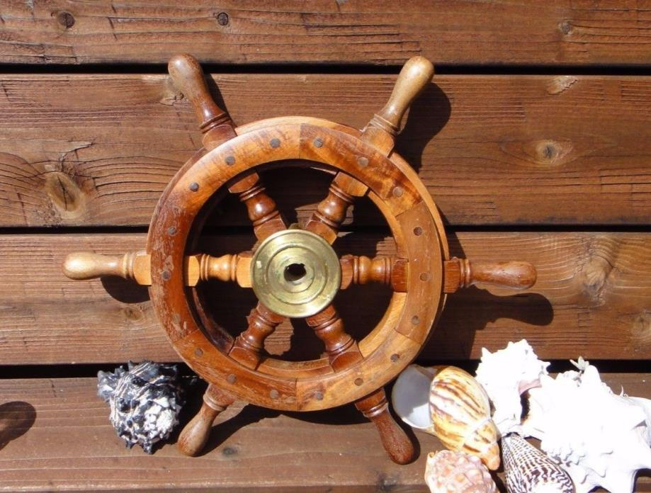Old Vintage Real Ships Boat Yacht Steering Wheel 16 Inch Brass & Wood