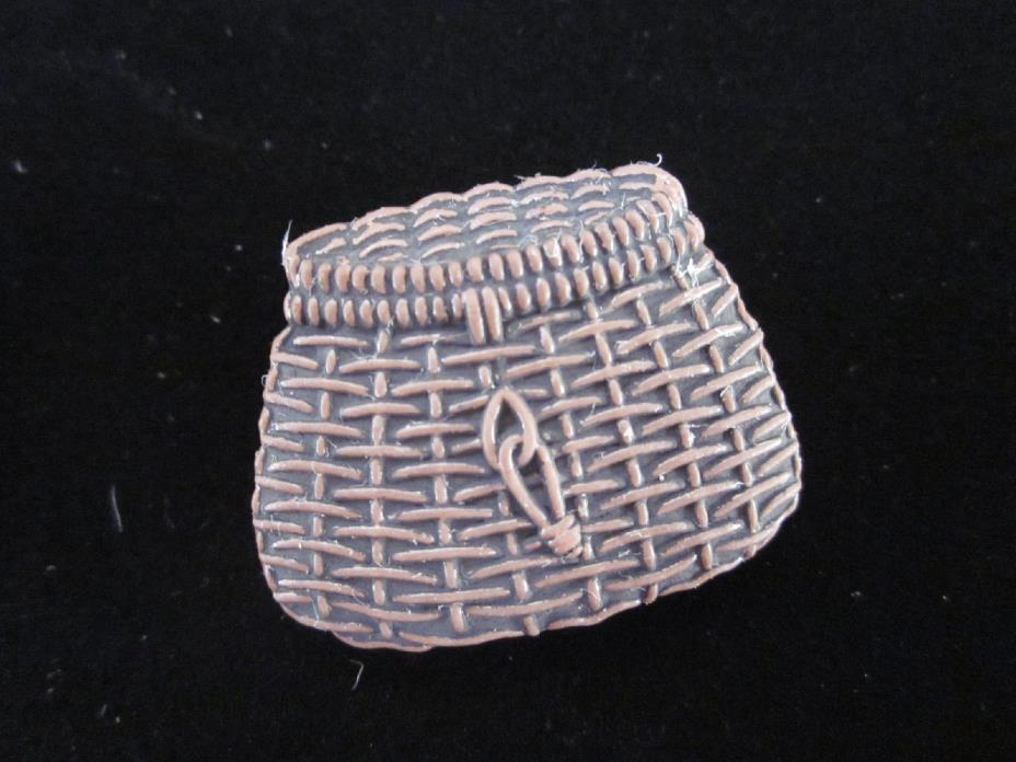 OLD Plastic Figural Fishing Creel Basket Clothing BUTTON Vintage Sewing