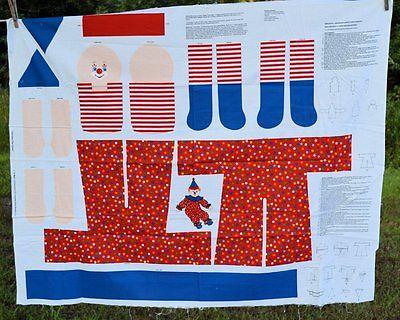 creepy clown Doll Fabric Panel ree US Shipping