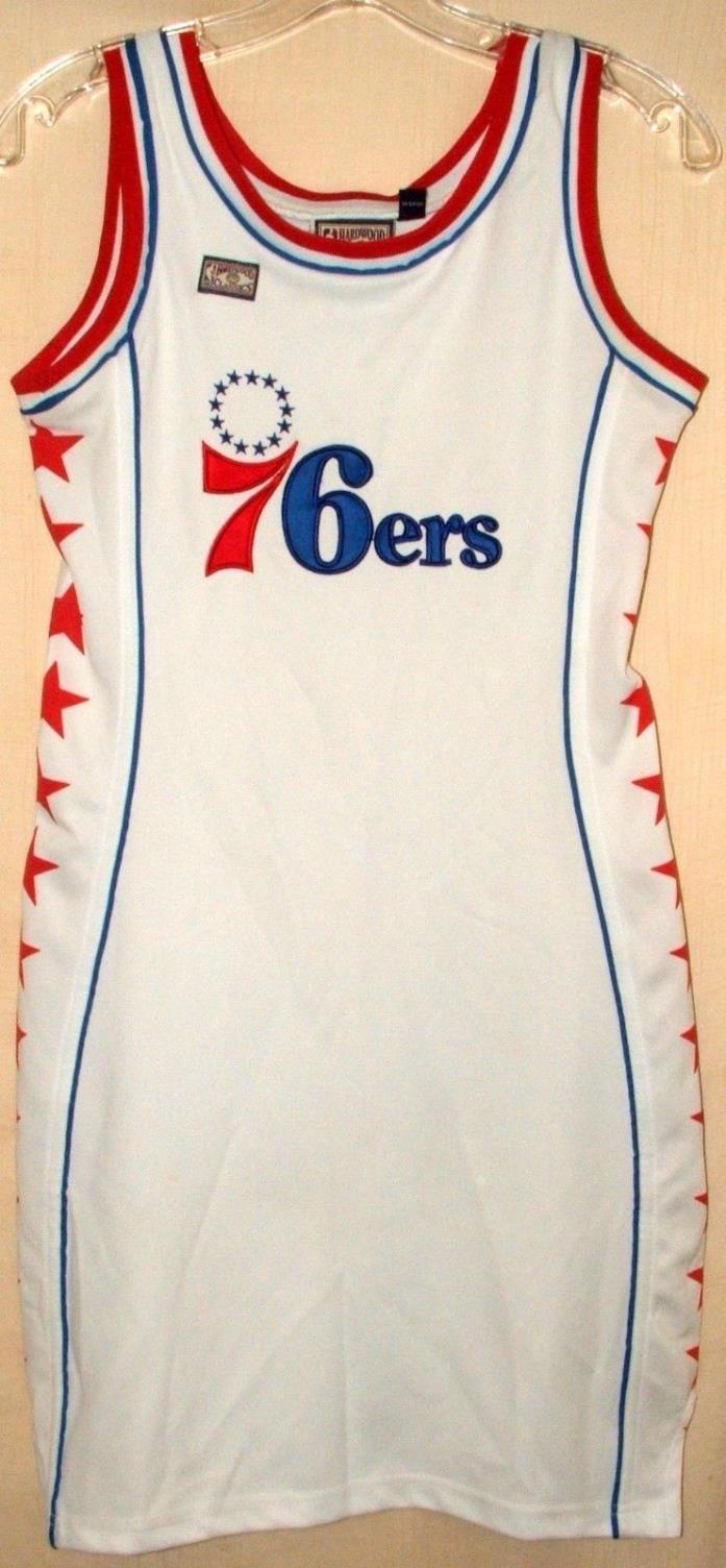 NBA Philadelphia 76ers Sewn Jersey Dress White Red Stars Hardwood Classic Sz S
