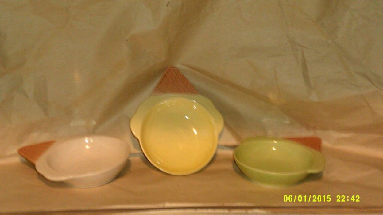 A SET OF #3 VINTAGE ICE CREAM CONED SHAPED BOWLS