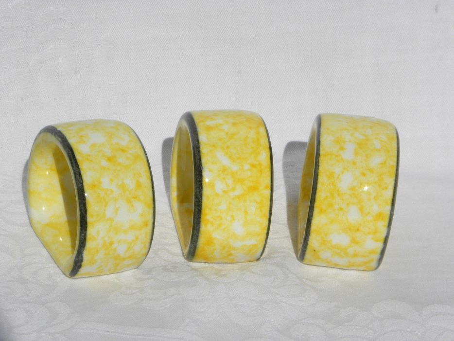 3 Vintage Stangl Town and Country Yellow Spongeware Napkin Rings