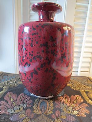 Haeger Pottery Large Vase Oxblood Black Speckled New NWT Decor