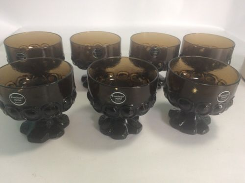 Franciscan Crystal Smoked Brown Dessert Dishes Set Of 7