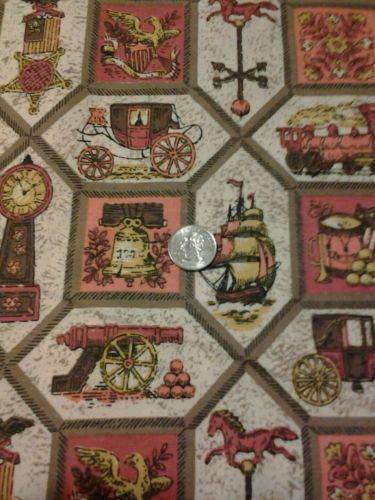 Vintage 1960's  Fabric , 100 percent  cotton  ,  6 yards  , 44 inches  wide
