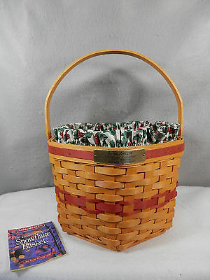 Longaberger 1997 Snowflake Basket with Liner & Protector - Red Accent Weave