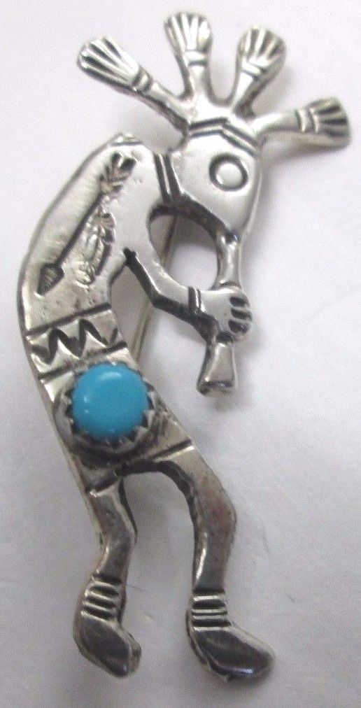 Vintage Sterling Silver Kokopelli Playing Horn Turquoise Pin Brooch