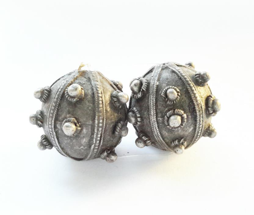 Antique Bedihi 2 Silver Beads from Yemen