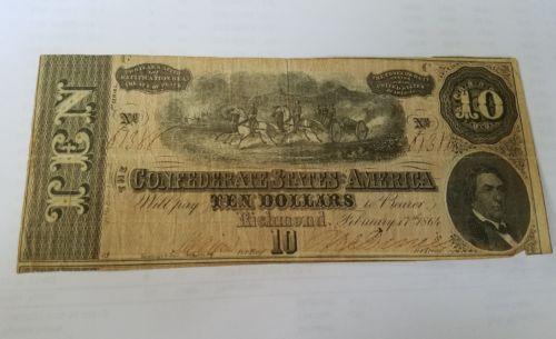 Confederate States of America Ten Dollar Bill $10 Richmond February 17 1864