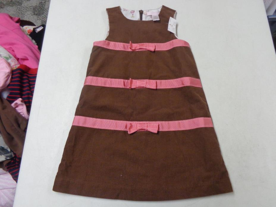 NWT JANIE AND JACK SWEET CORDUROY W PINK BOW JUMPER DRESS  GIRLS  3T   3