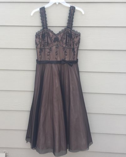 Embroidered Tea Length Prom Dress, Formal, Size 10