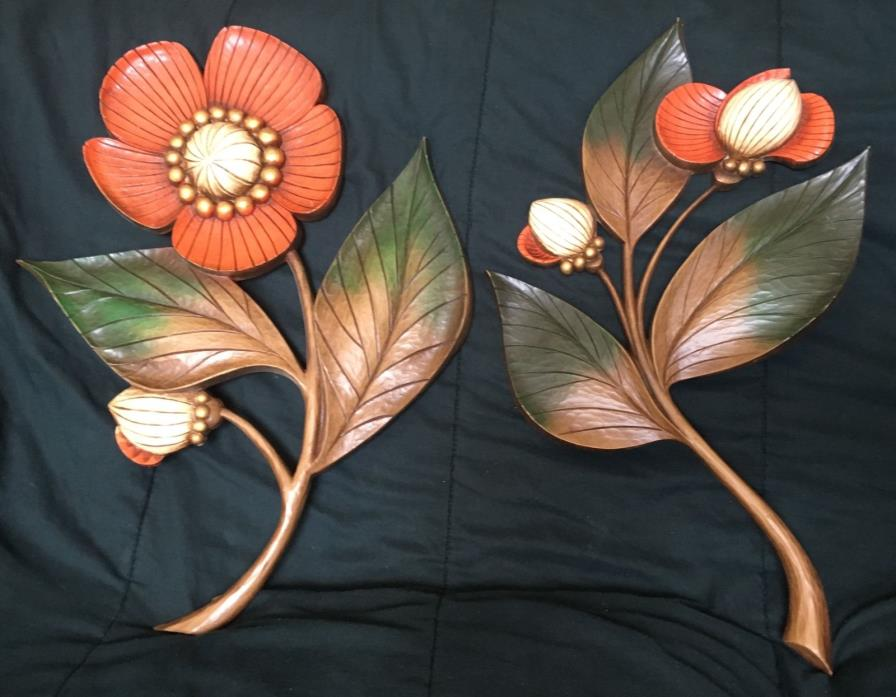 Pair Vintage Syroco Flowers Leaves Wall Hanging 1964