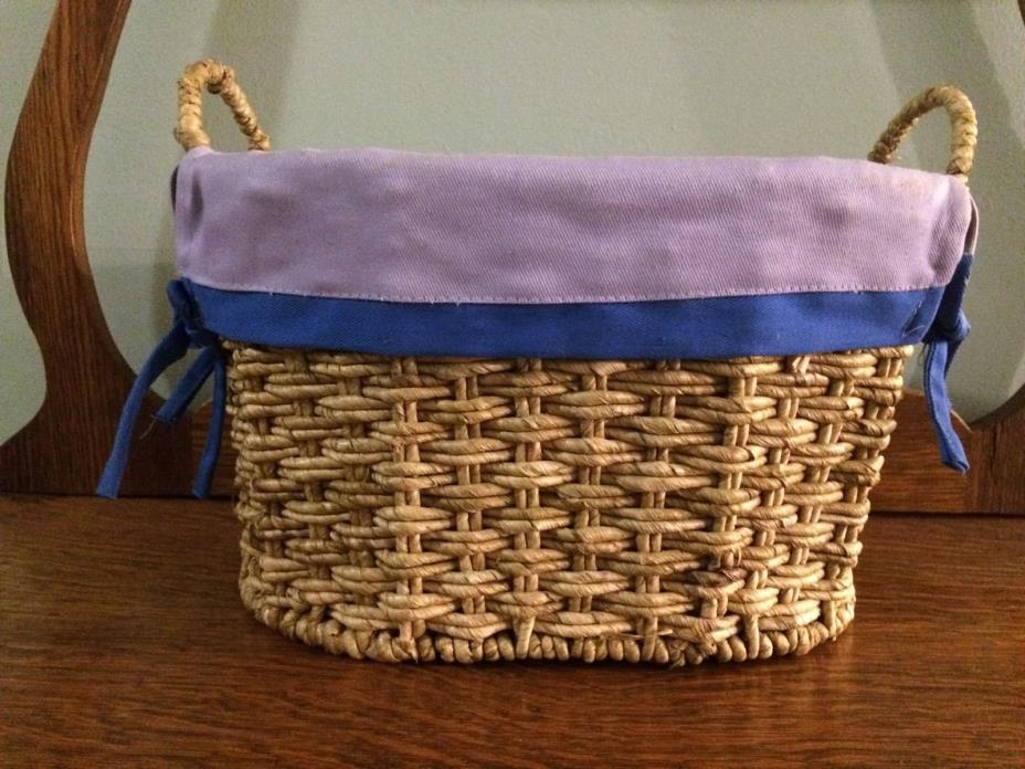 Sturdy Basket With Purple And Royal Blue Fabric Liner, Medium Size