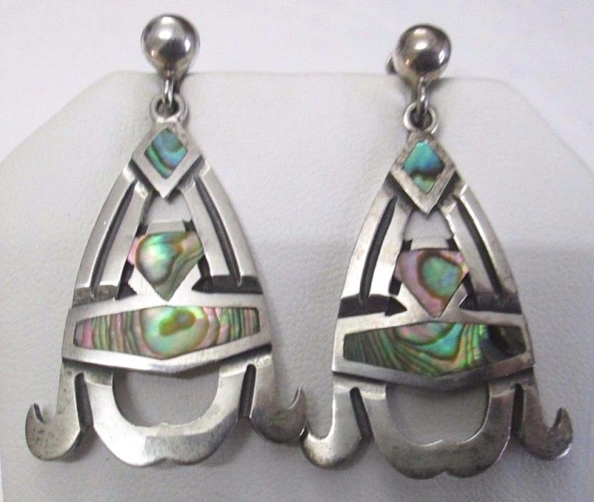 VINTAGE TAXCO MEXICO MIGUEL STERLING SILVER ABALONE DANGLE EARRINGS SCREWBACKS