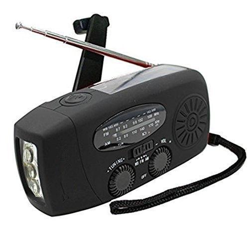 Emergency Solar Hand Crank Self Powered AM/FM/NOAA Weather Radio Black