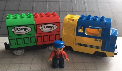 Rare LEGO Duplo Electric Cargo Train From DELUXE TRAIN SET 3773 With Figure