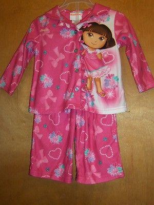 Girls Dora Hearts & Flowers Pajama Set     Size 18 Months